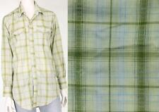 Vintage H bar C Green Plaid Cowboy Rockabilly Western Pearl Snap Shirt