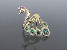 Vintage 18K Solid YG Blue Emerald, Ruby & White Topaz Peacock Ring Size 7.5