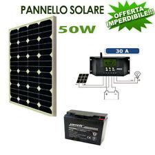 Kit Pannello Fotovoltaico 50W batteria 20amp 12 vlt kit solare Pwm camper barca
