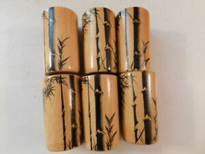 1950'S VINTAGE JAPAN BAMBOO CUPS JUICE GLASSES 6 EA HAND PAINTED NO CRACK CHIPS