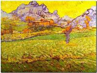 """Vincent Van Gogh *FRAMED* CANVAS ART Meadow in Mountains 24x16"""""""