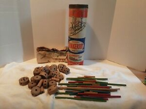 VINTAGE 1950s ORIGINAL TINKERTOY PREP SET WITH 74 PIECES WITH DIRECTIONS