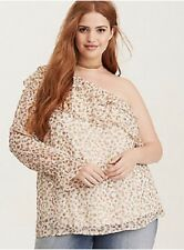 TORRID Top Plus Size 3 Ivory Floral Chiffon Ruffled One Shoulder Blouse NEW