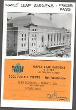 1974-75  (Toronto) MAPLE LEAF GARDENS-PRESS PASS-Toronto Sun-GLEN WOODCOCK