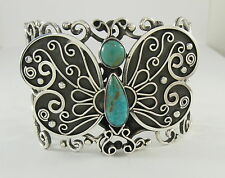 925 sterling silver cuff bracelet butterfly design with turquoise