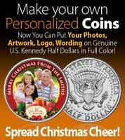 Greeting Card PERSONALIZED COIN Any Holiday U.S. JFK Half Dollar MERRY CHRISTMAS