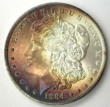 1884-O MORGAN SILVER DOLLAR GEM+ UNCIRCULATED IRIDESCENT TONING!!