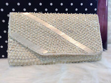 Vintage Ivory Sequins and Beads Clutch