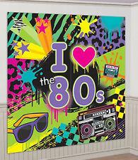 I LOVE THE 80s Scene Setter party wall decoration kit decor 6'