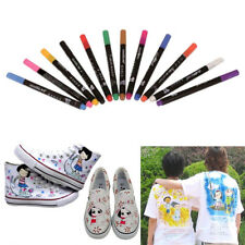 12 Fabric Marker Pens Permanent Colors For DIY Textile Clothes T-Shirt Shoes