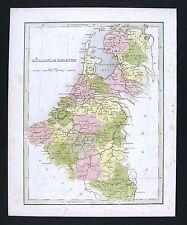 1835 Bradford Map - Holland Belgium Luxemburg - Brussels Amsterdam Zealand Ghent