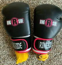Ringside Striker Training Gloves (16oz L/Xl), Black/Pink/White with Yellow Wrap