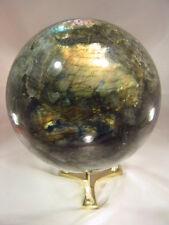 "BUTW Madagascar Labradorite Spectrolite 7.5"" Diameter Sphere with Stand 7170E ab"