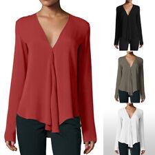 New Women V Neck Long Sleeve Chiffon Blouse T-Shirt Tops Shirt Solid Casual