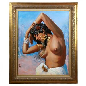Old Oil painting on canvas, nude woman after Adam Styka