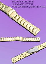 MASSIVE STAHL UHREN ARMBAND IN IP-GOLD PLATTIERT  NEU 22MM