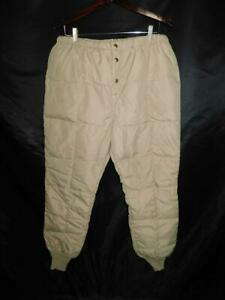 Vintage WALLS Blizzard Pruf L Mens Khaki Brown Goose Down Pants Quilted Base Lg