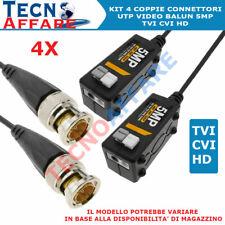 KIT 4 Video Balun Passivi UTP 5MPX Per Telecamere Videosorveglianza AHD CVI TVI