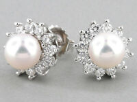 SOUTH SEA CULTURED PEARL AND DIAMOND STUD EARRINGS IN 14 KARAT WHITE GOLD OVER