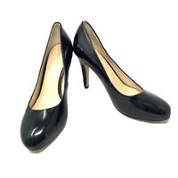 Franco Sarto Womens Warren Round Toe Patent Leather Pumps Size 9.5 Black Shoes