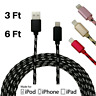 3Pack 3/6Ft Braided USB Lightning Cable for iPhone X 8 7 6 Charger Charging Cord