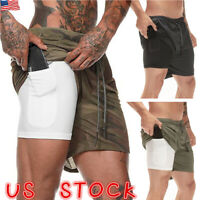 US Men 2in1 Sports Gym Running Shorts Breathable Fitness Bottom With Pocket Pant