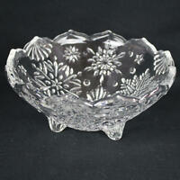 Mikasa Crystal Footed Bowl Snowflake Design Grooved Edge WY960
