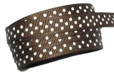 "5 yards Brown polka dot print 3/8"" grosgrain ribbon by the yard DIY"