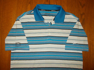 NIKE GOLF IRON VALLEY SHORT SLEEVE STRIPED POLO SHIRT MENS MEDIUM EXCELLENT COND