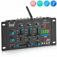 Pyle PMX8BU Professional 3-Channel Bluetooth DJ Mixer with Digital LED Display