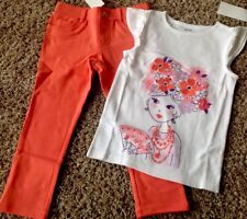 NWT GYMBOREE 2pc OUTFIT SPRING SUMMER White Girl Flowers Top/Coral Pants 6
