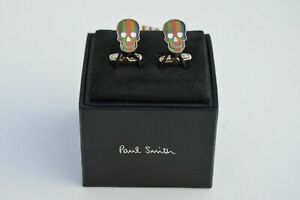 PAUL SMITH Stone Stripe Skull cufflinks artist signature striped cuff links