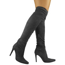 WOMENS LADIES THIGH HIGH OVER THE KNEE STILETTO HEEL STRETCH BOOTS SHOES SIZE