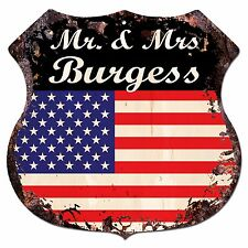 BPLU0407 America Flag MR. & MRS BURGESS Family Name Sign Decor Wedding Gift