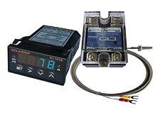 12V DC 1/32DIN PID Temperature Controller, Blue + 25A SSR + K thermocouple