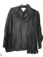 LAFIXSUN size Medium 100% linen Black tunic top cover up boxy oversized l