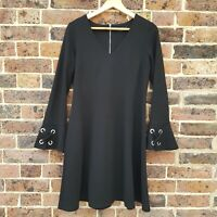 Wallis Black Dress Size 10 Bell Sleeve Shift Dress 70s Style