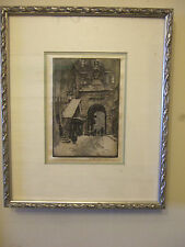 "RARE EARLY ORIGINAL  ETCHING ON SILK SIGNED BY LUIGI KASIMIR ""SALZBURG"""