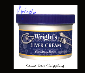 WRIGHT'S Silver Cleaner and Polish Cream - 8 Ounce + Cleaning Sponge No Ammonia