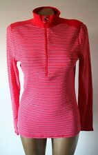 Ralph Lauren Top Size L Red White Stripe Skinny Rib Stretch Long Sleeve Flawless