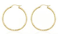 14K Yellow Gold Hoop Earrings Diamond Cut Pattern 1 Inch Slender Hoops
