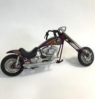 Vintage Newray 1995 Chopper Long Fork Skull Flame  Motorcycle Toy Purple Bike
