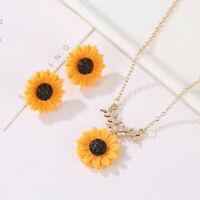 Women Sunflower Earrings Pendant Chain Necklace Fashion Jewelry Sets