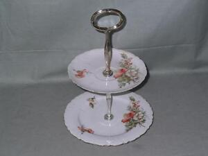 Vintage Ernst Wahliss Bone China 2-Tier Biscuit Plate Small Cakestand Floral
