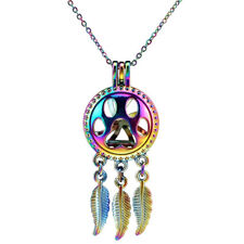 C706 COLORFUL Dream Catcher Cat Footprint Beads Cage Charms Floating Necklace