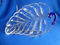Vintage Crystal Leaf W/Cobalt Blue Glass Handle 3 Divison Relish Dish  #427