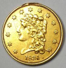 1834 Classic Gold Quarter Eagle $2.50 Coin - XF / AU Details - Rare Coin!