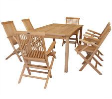 KMH® Teak Sitzgruppe Tisch 180 x 90 Stühle Sessel Holz Gartenmöbel Set Garnitur