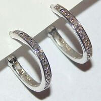 Dainty sterling silver clear white tiny stone hoop pierced earrings signed NV