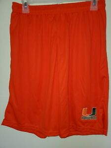 0724 Mens MIAMI HURRICANES Polyester Jersey SHORTS Embroidered ORANGE New